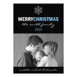 Sleek Merry Christmas Card Snowflake (Blue/Black) Custom Announcement