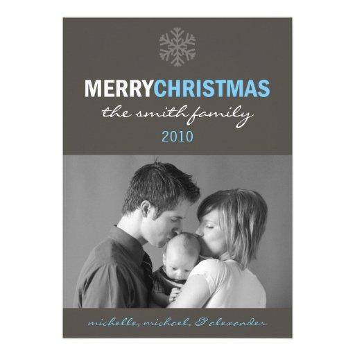 Sleek Merry Christmas Card (Snowflake Blue / Gray) Announcement