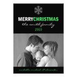 Sleek Merry Christmas Card Snowflake (Lime/Black) Invite