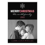 Sleek Merry Christmas Card Snowflake (Pink/Black) Custom Invitation