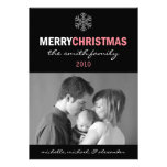 Sleek Merry Christmas Card Snowflake (Pink/Black) Custom Invitations