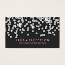 Sleek Modern Silver Diamonds Business Card