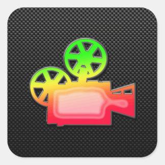 Sleek Movie Camera Square Sticker