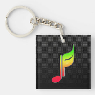 Sleek Music Note Square Acrylic Key Chain
