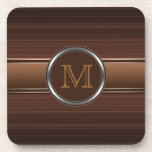 Sleek Professional Brown Stripes Monogram Drink Coaster