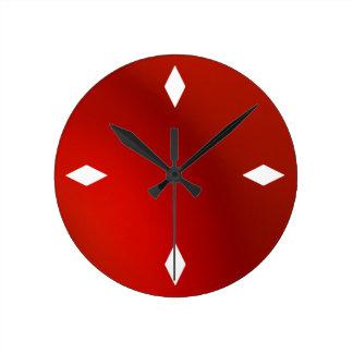 sleek retro modern red satin wall clock