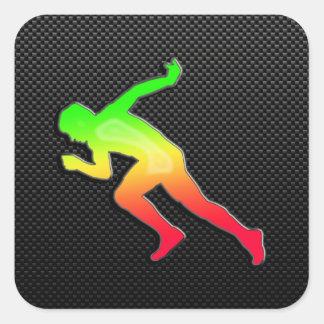 Sleek Running Square Sticker
