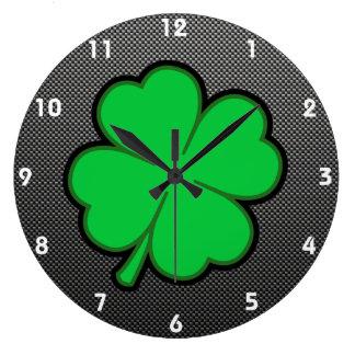 Sleek Shamrock Wall Clock
