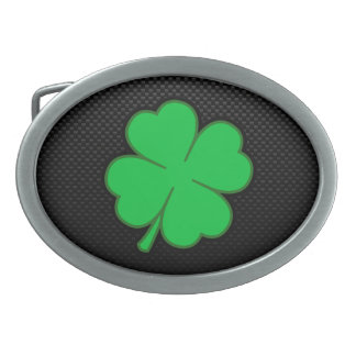 Sleek Shamrock Oval Belt Buckle