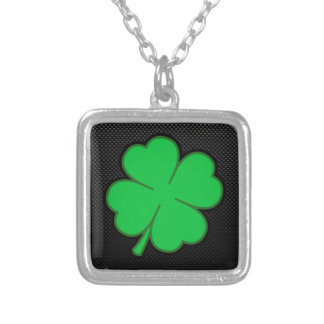 Sleek Shamrock Silver Plated Necklace