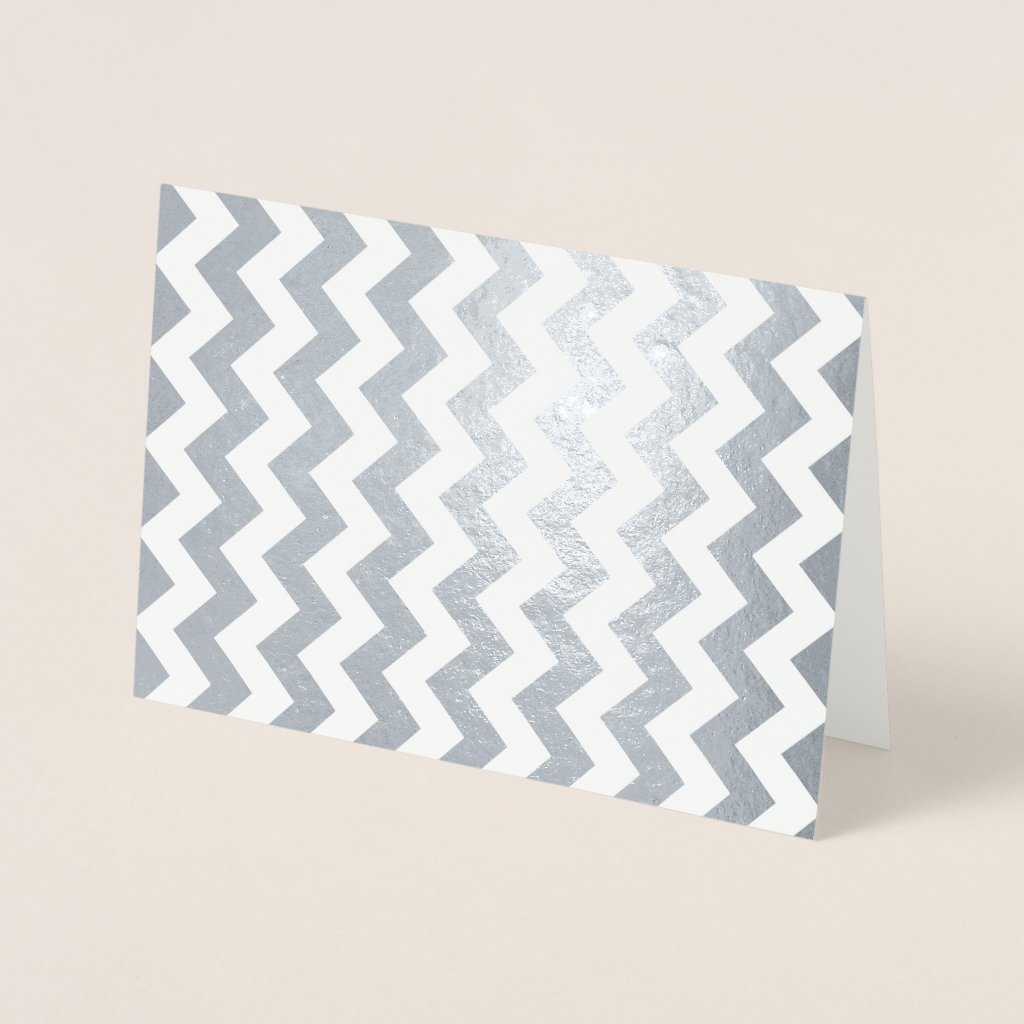 Sleek Silver and White Zigzag Foil Card