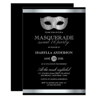 Sleek Silver & Black Masquerade Sweet 16 Party Card