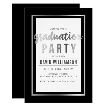 Beach Themed Sleek Silver & Black Typography Graduation Party Card