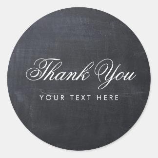 Sleek Simple Elegant Modern Chalkboard Thank You Classic Round Sticker