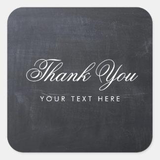 Sleek Simple Elegant Modern Chalkboard Thank You Square Sticker