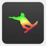 Sleek Snowboarding Square Sticker