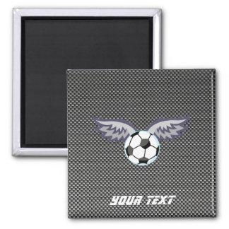 Sleek Soccer Ball Wings 2 Inch Square Magnet