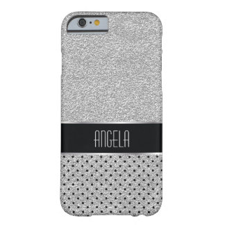 Sleek Sparkle Silver and Black Dot Pattern Barely There iPhone 6 Case