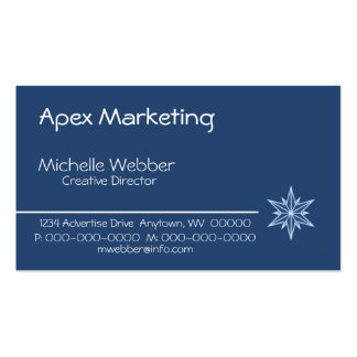 Sleek Starburst Business Card, Blue Business Card