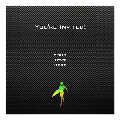 Sleek Surfing Girl Personalized Invites