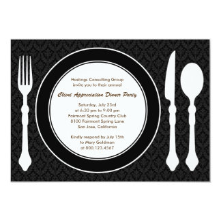 Sleek Tabletop Corporate Party Invitation - Black