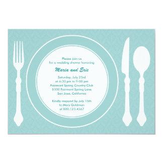 Sleek Tabletop Wedding Shower Invitation Turquoise