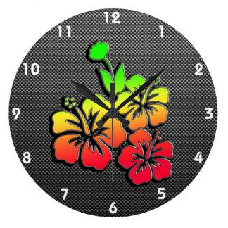 Sleek Tropical Flowers Clock