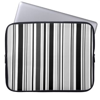 Sleek Varied Black, Grey, White Stripes Laptop Sleeve