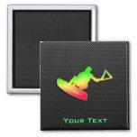 Sleek Wakeboarder 2 Inch Square Magnet