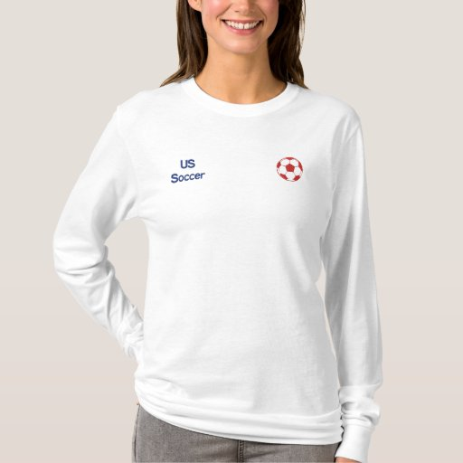 Sleek white Ladies fitted US soccer ball L/S shirt