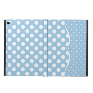 Sleek White Polka Dots on Pastel Blue Powis iPad Air 2 Case
