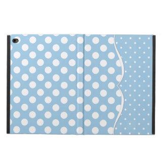 Sleek White Polka Dots on Pastel Blue Powis iPad Air 2 Case