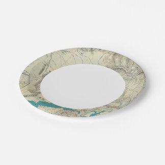 Sleem's Map of Central Alaska 7 Inch Paper Plate