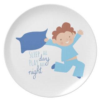 Sleep All Day Play All Night Plate