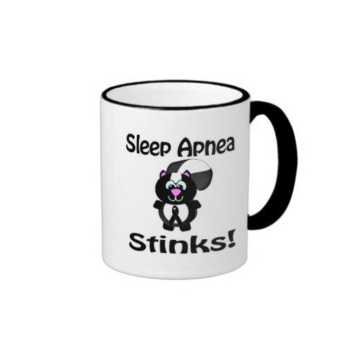 Sleep Apnea Stinks Skunk Awareness Design Ringer Coffee Mug