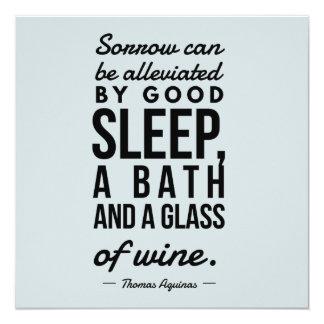 Sleep Bath Glass of Wine Aquinas Motivation Quote Card