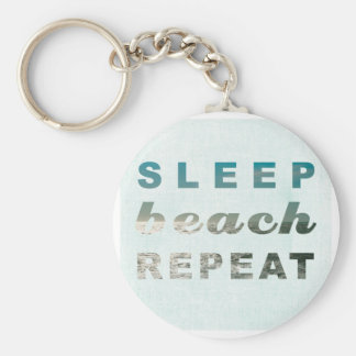 SLEEP BEACH REPEAT TYPOGRAPHY PRINT BASIC ROUND BUTTON KEYCHAIN