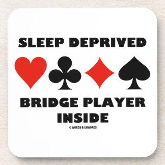 Sleep Deprived Bridge Player Inside (Card Suits) Beverage Coaster