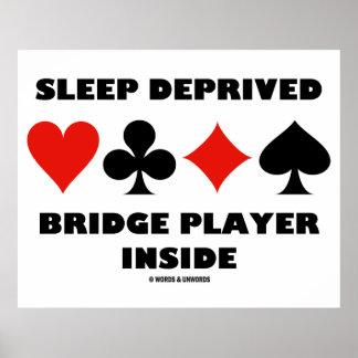 Sleep Deprived Bridge Player Inside (Card Suits) Poster