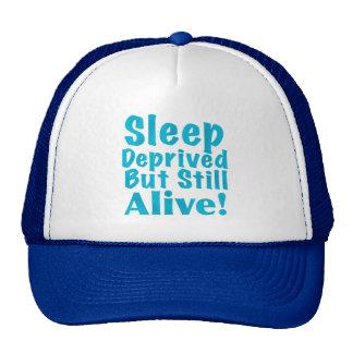 Sleep Deprived But Still Alive in Blue Mesh Hats