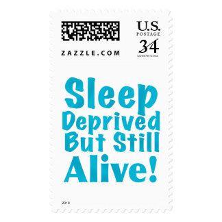 Sleep Deprived But Still Alive in Blue Postage