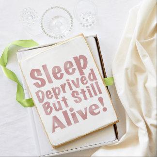 Sleep Deprived But Still Alive in Dark Blue Jumbo Shortbread Cookie