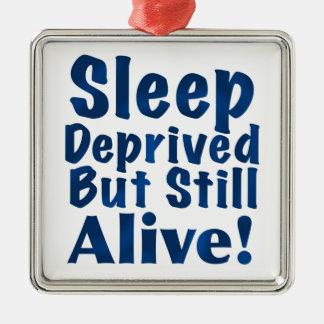 Sleep Deprived But Still Alive in Dark Blue Metal Ornament