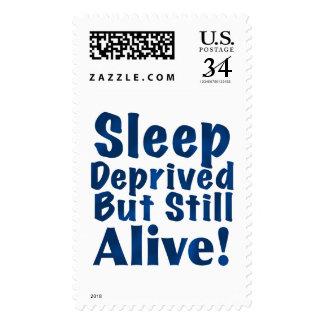 Sleep Deprived But Still Alive in Dark Blue Postage