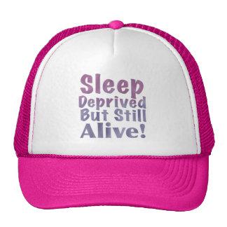 Sleep Deprived But Still Alive in Sleepy Purples Mesh Hats