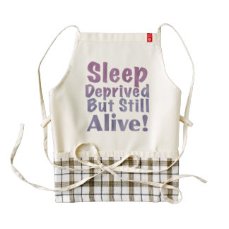 Sleep Deprived But Still Alive in Sleepy Purples Zazzle HEART Apron