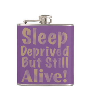 Sleep Deprived But Still Alive in Yellow Hip Flask