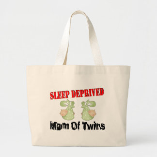 Sleep deprived mom of TWINS Large Tote Bag