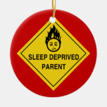 Sleep Deprived Parent Double-Sided Ceramic Round Christmas Ornament