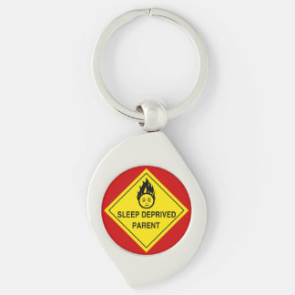 Sleep Deprived Parent Silver-Colored Swirl Metal Keychain